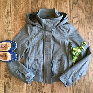 Love Tree olive hooded cropped bomber jacket